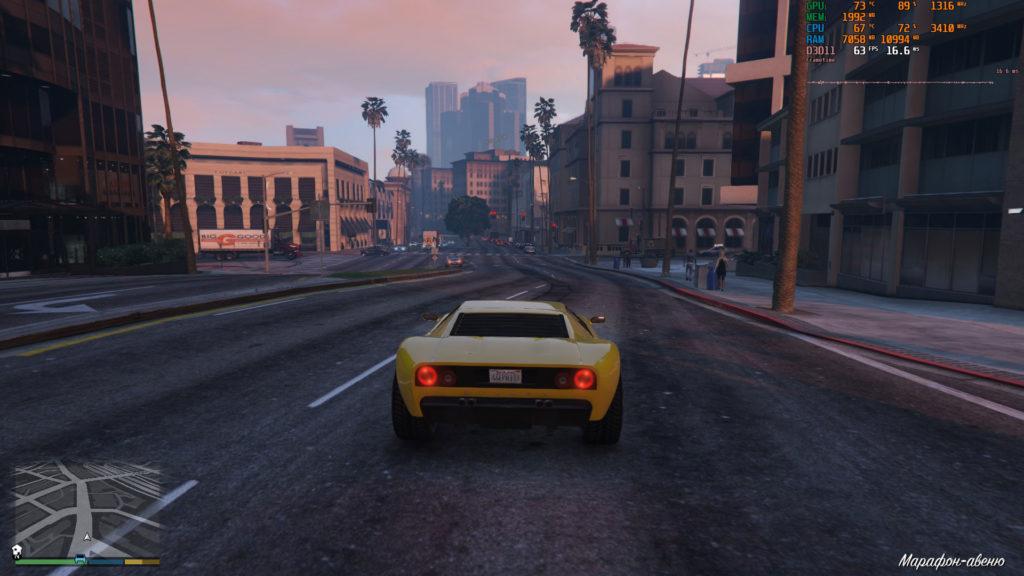 Скриншот из GTA 4 с параметрами MSI Afterburner
