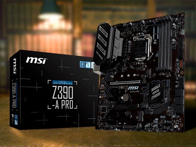 Материнская плата MSI Z390-A Pro с коробкой на столе