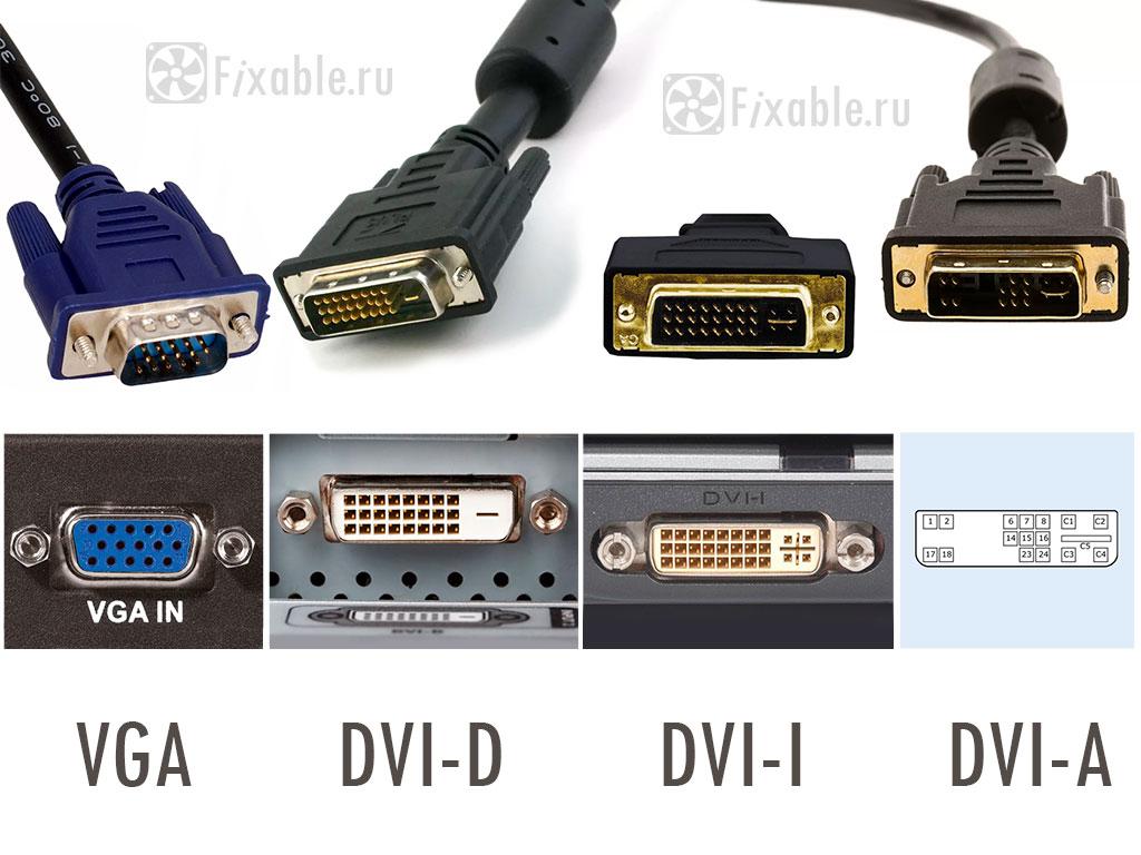 Видео разъемы: VGA D-Sub, DVI-D, DVI-I, DVI-A