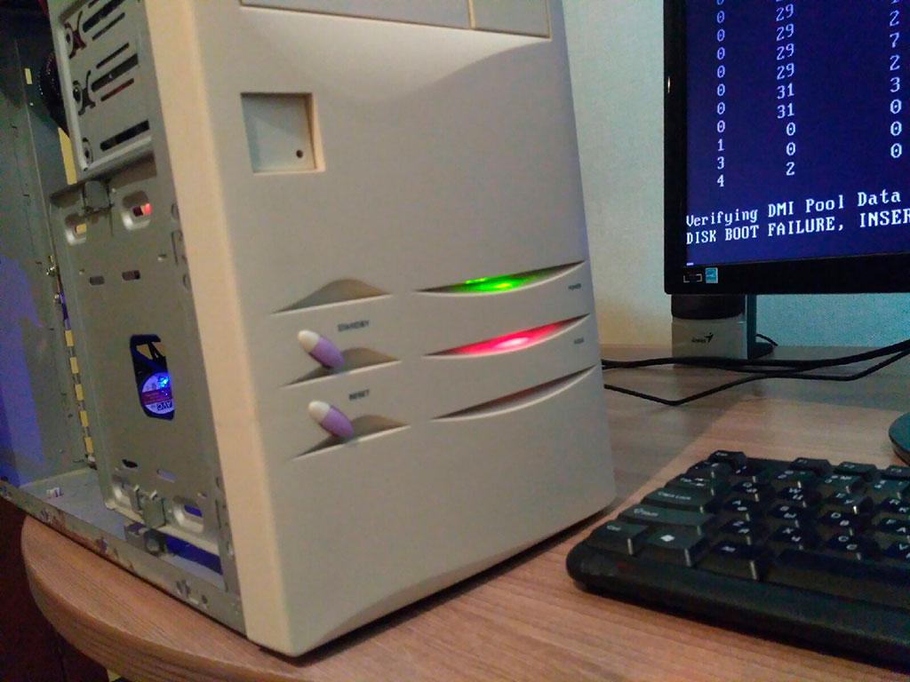 Индикаторная подсветка на старом системном блоке