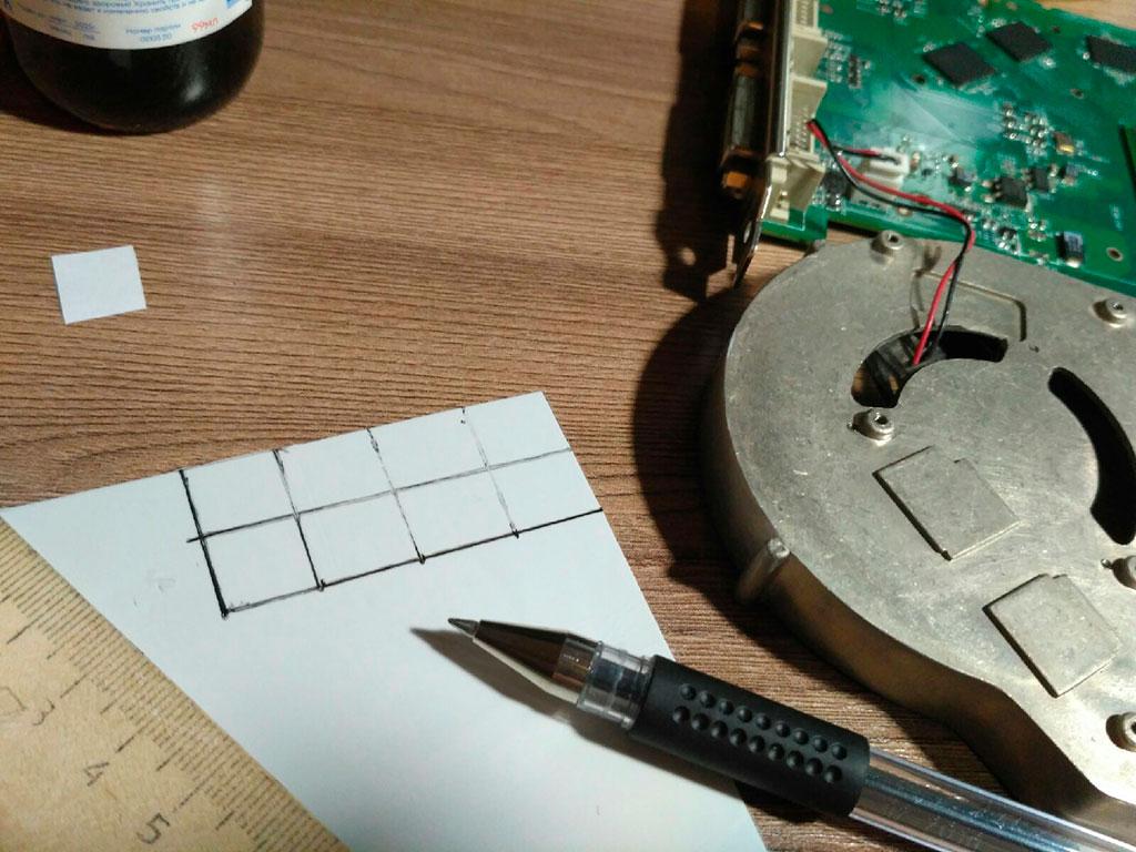 Размечаем термопрокладку для нарезки кусочков